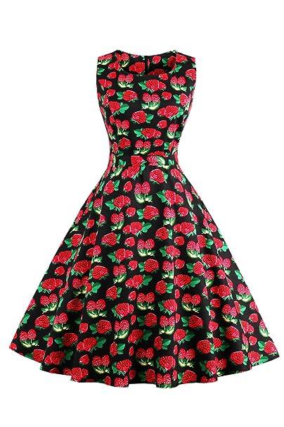 Las Mujeres Vestido Vintage Años 50 Retro Summer Floral Vestidos De Coctel: Amazon.es: Ropa y accesorios