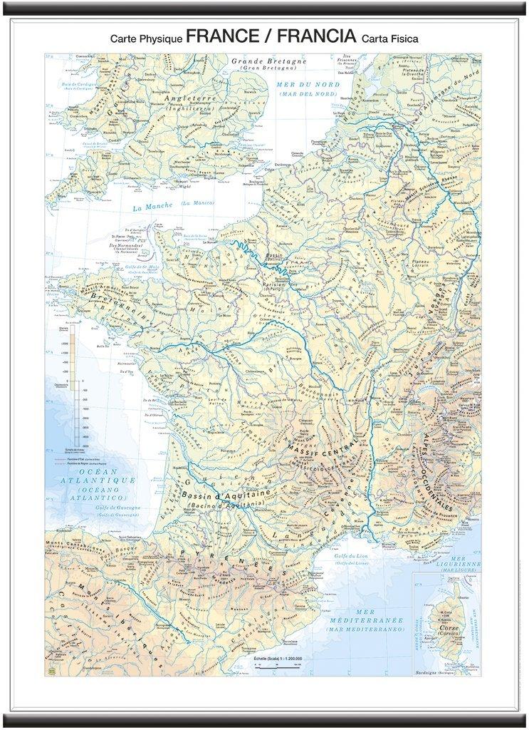 97x134 cm Belletti Fisica//Politica Francia Carta Murale Scolastica Bifacciale