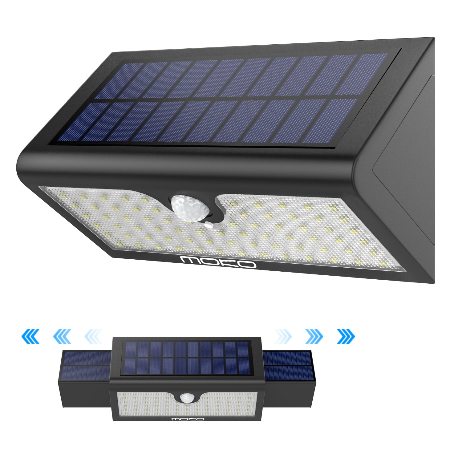 Solar Lights, MoKo Super Bright 71 LED Motion Sensor Solar Powered Lights, Outdoor Waterproof Wall Path Light Home Security Lamp with Wide Angle Illumination for Driveway, Yard, Garden, Patio - BLACK