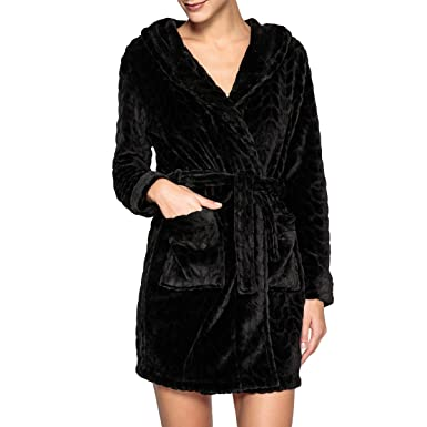 La Redoute Collections Womens Hooded Waffle Bathrobe Black Size US 4 6 - FR  34 5b57f3c61