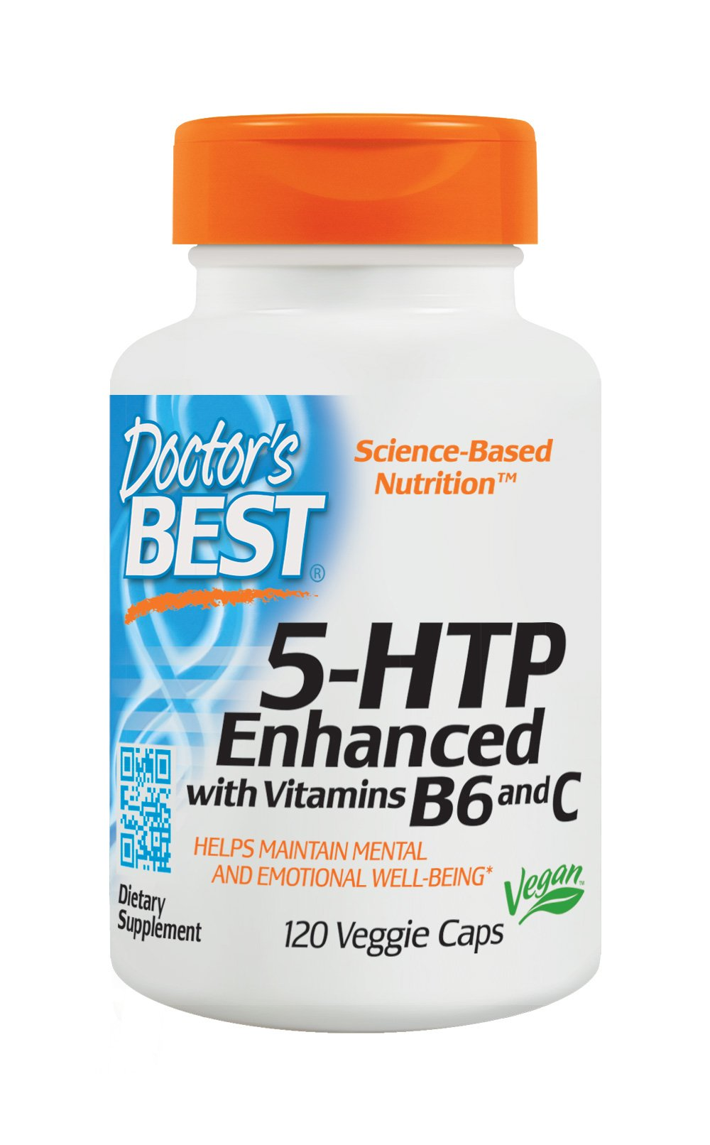 Doctor's Best 5-HTP Enhanced with Vitamins B6 and C, Non-GMO, Vegan, Gluten Free, Soy Free, 120 Veggie Caps