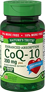 Nature's Truth Enhanced Absorption CoQ10 200 mg Plus Black Pepper Extract, 50 Count