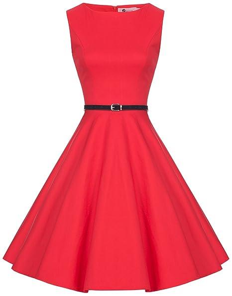 Zarlena - Vestido de fiesta para mujer - Estilo rockabilly vintage rojo XL