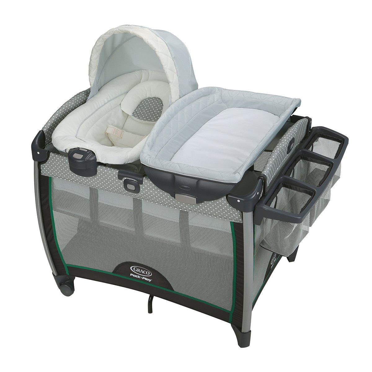 Amazon.com : Graco Pack 'n Play Quick Connect Portable Bouncer with  Bassinet, Albie : Baby