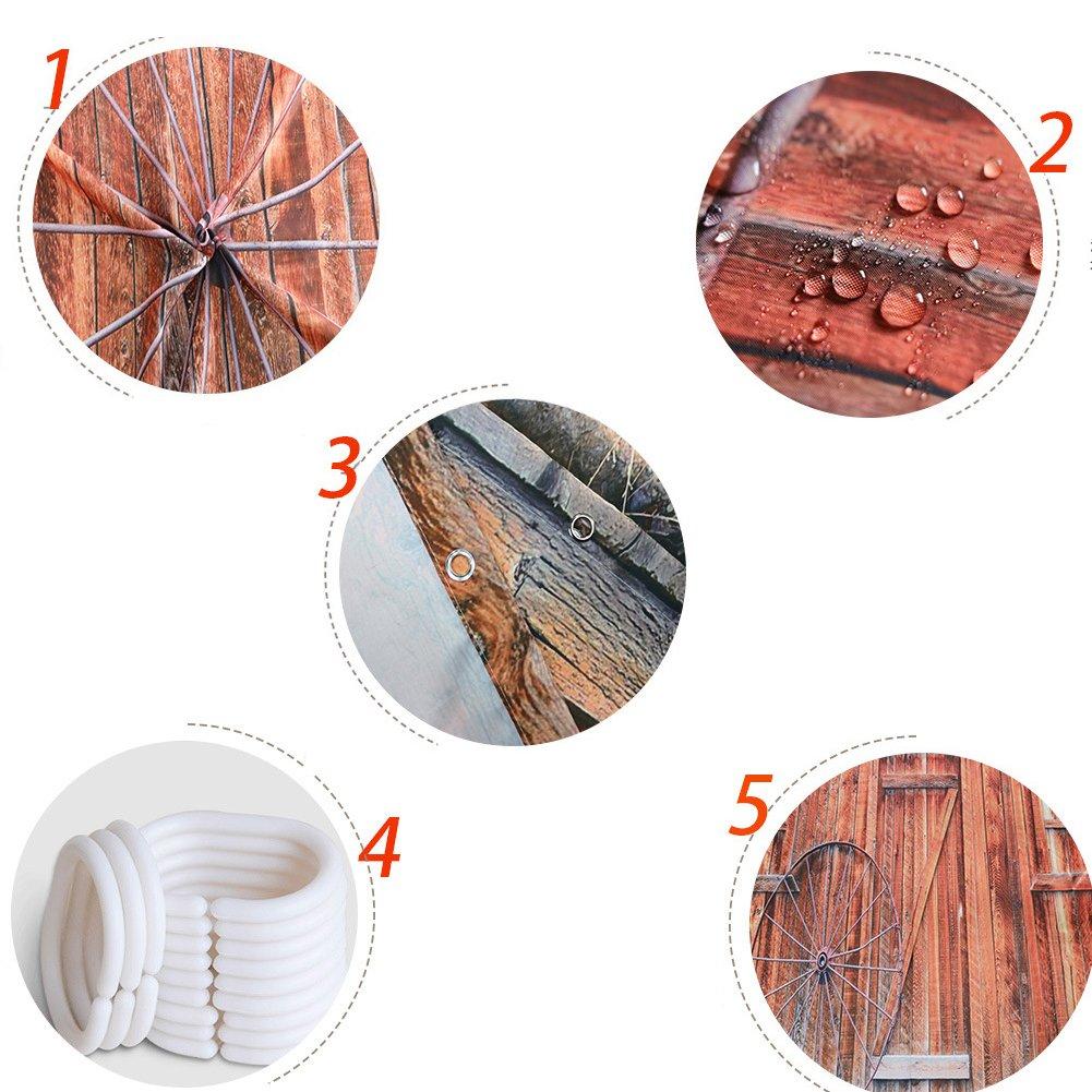 Beautifulove Polyester Fabric Digital Printed Wood Waterproof Shower Curtain Old Planks/& Rustic Bathroom Curtains Style 7