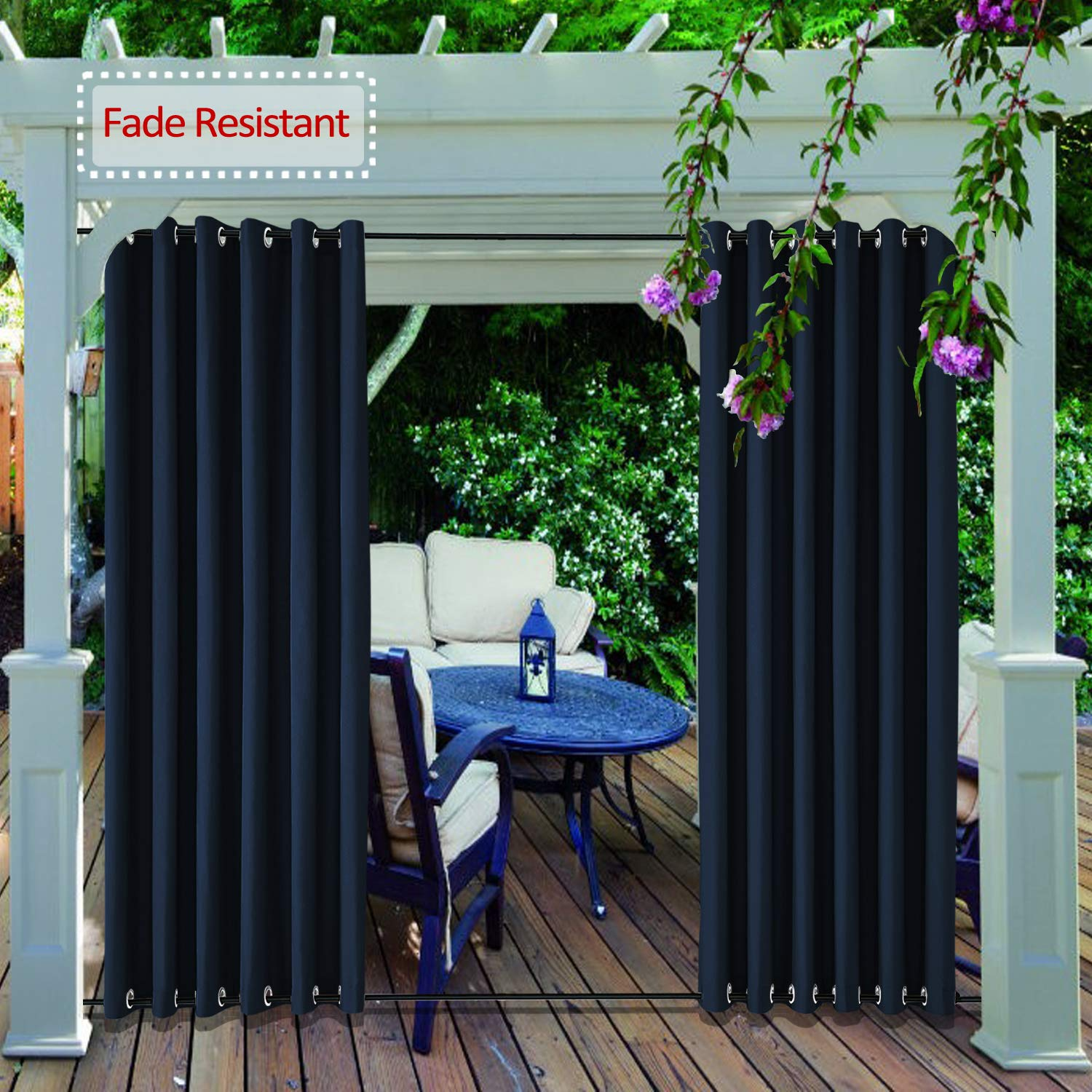 cololeaf Outdoor Curtain Panel for Patio - Grommet Top and Bottom Thermal Insulated Outdoor Drape Summer Heat Weather Resistant Thermal Insulated Pavilion Drapery, Navy 100W x 96L Inch (1 Panel)