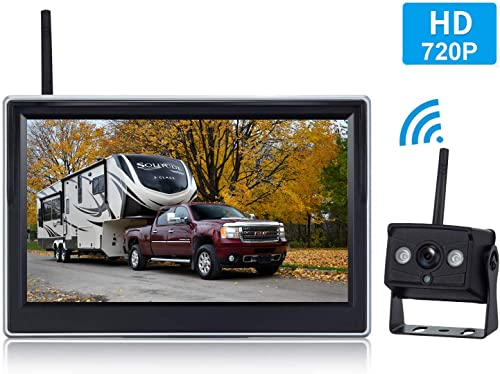 Yakry HD 720P Digital Wireless Backup Camera and 5 Monitor Kit for Trailers RVs Pickups Vans Trucks Motorhomes Rear View Front View Camera IP69 Waterproof Guide Lines ON Off