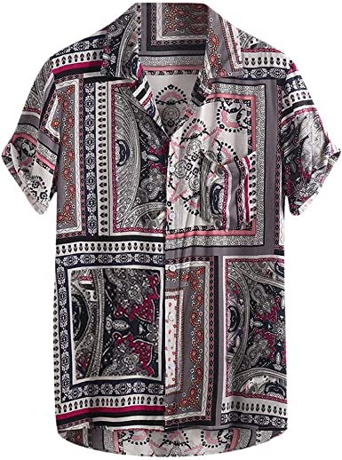 Casual Breathable Short-sleeved Beach Shirt with Printing Pattern for Male