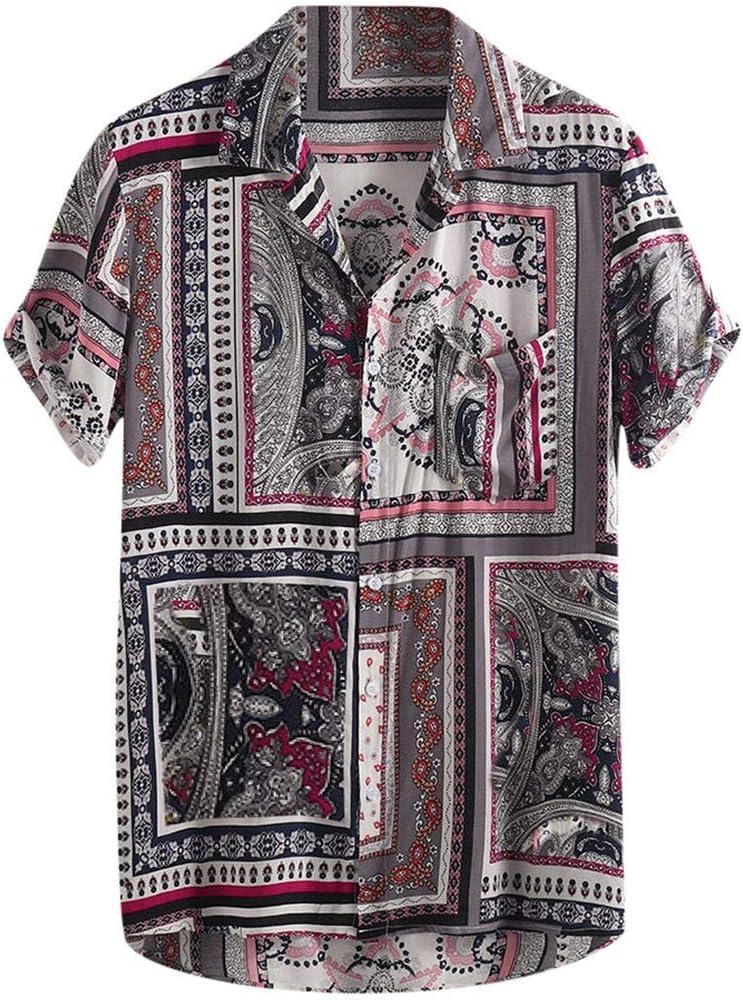 Firally - Camisa de hombre, estilo vintage, étnico, estampada, de manga corta, para verano, suave y transpirable rojo L: Amazon.es: Ropa y accesorios