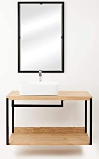 Vinci - Mueble de baño (80 cm, con espejo y estantería de metal ...