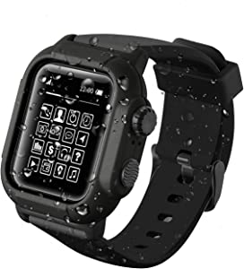 Compatible with Apple Watch Series 5/4 44mm IP68 Waterproof Case [Big], for Apple Watch Series 3/2 42mm Case Waterproof with Comfortable Soft Silicone Full Body Band Protector (Black 42mm)