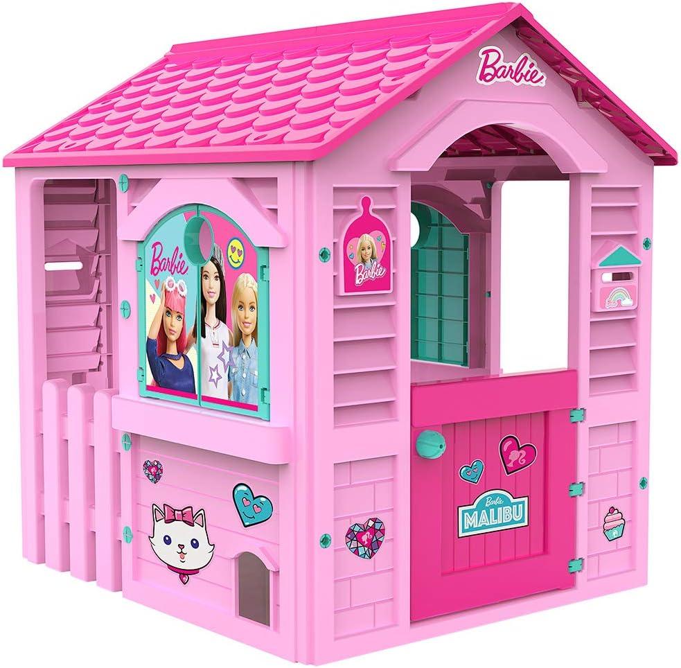 Chicos Casita infantil de exterior Barbie, color rosa con tejado fucsia (La Fábrica de Juguetes 89609)