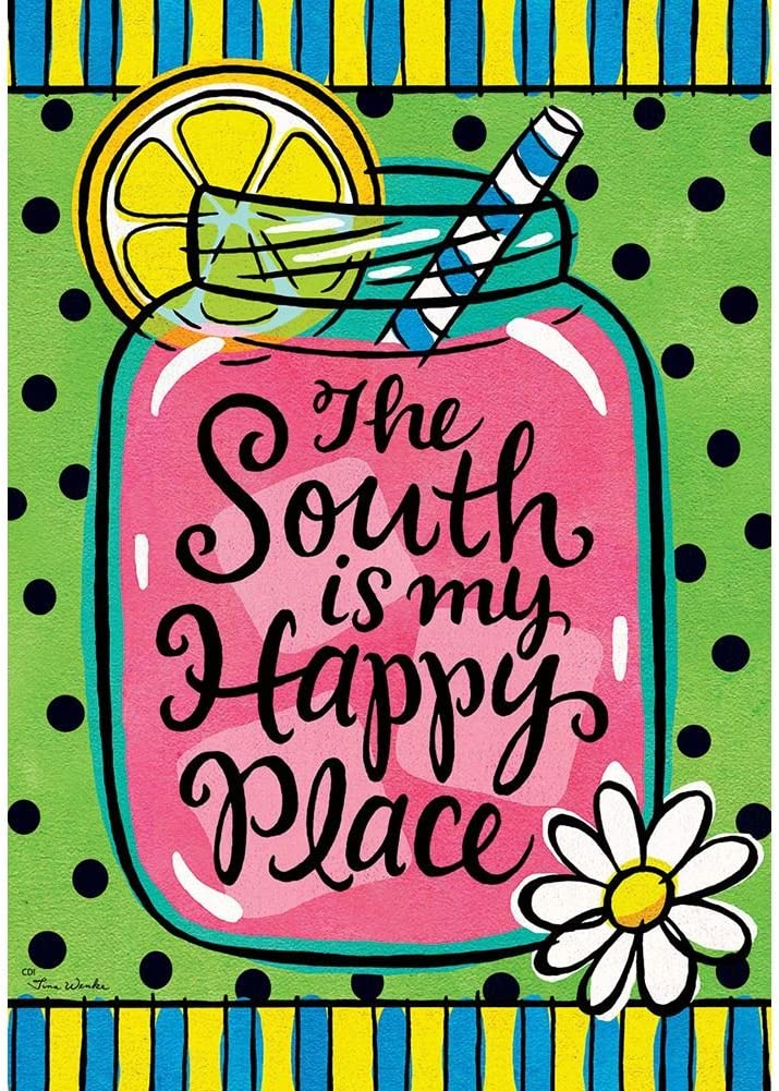 Custom Decor The South is My Happy Place - Standard Size, Decorative Double Sided, Licensed and Copyrighted Flag - Printed in USA Inc. 28 Inch X 40 Inch Approx.