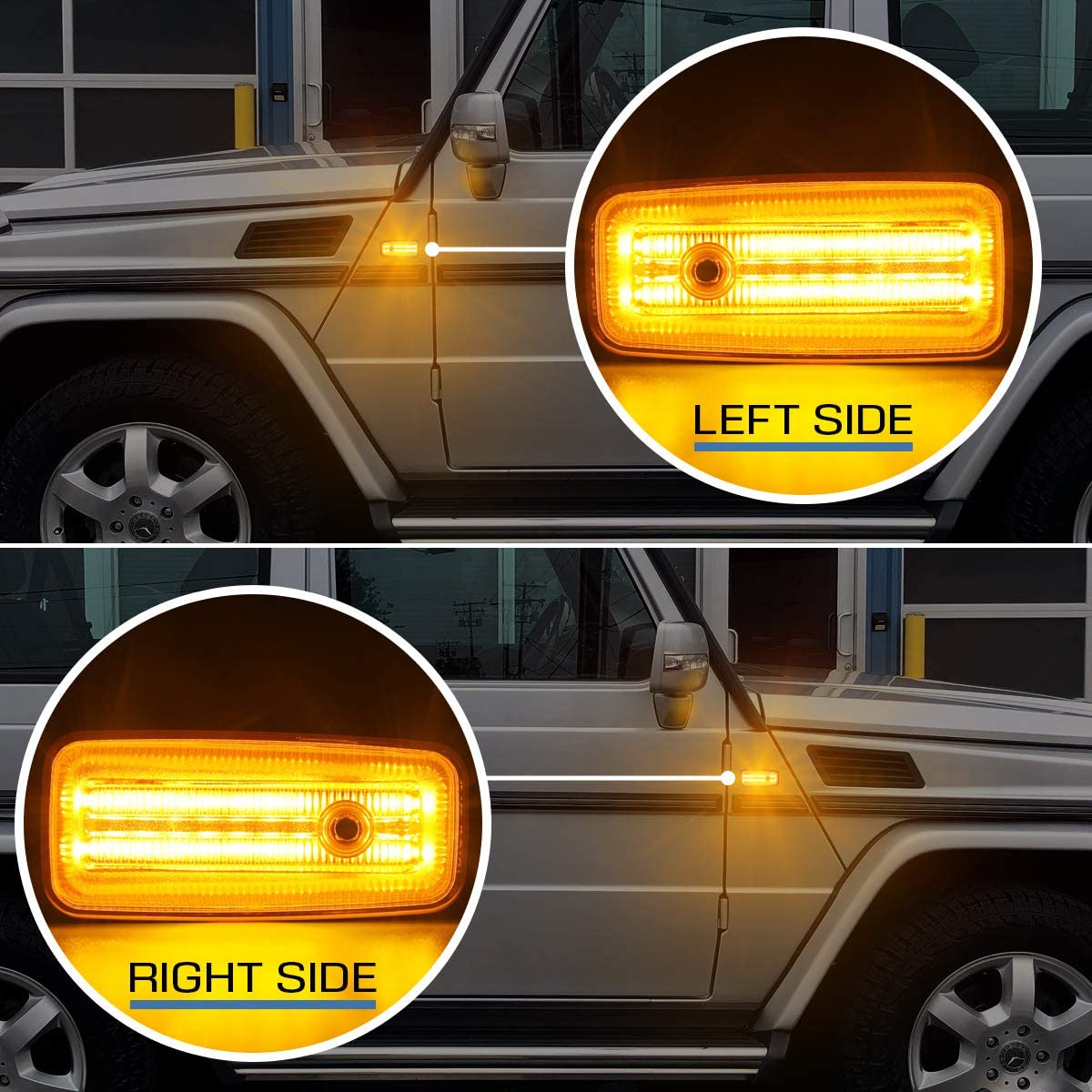 Smoke Lens Gempro 2Pcs Amber LED Side Marker Light Assembly Turn Signal Lamps Replacement Compatible with Mercedes Benz W463 G-Class 1986-2002