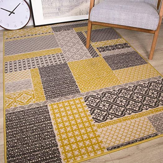 Milan Ochre Mustard Yellow Gray Beige Patchwork Squares Traditional Living Room Rug 6 3 x 9 3