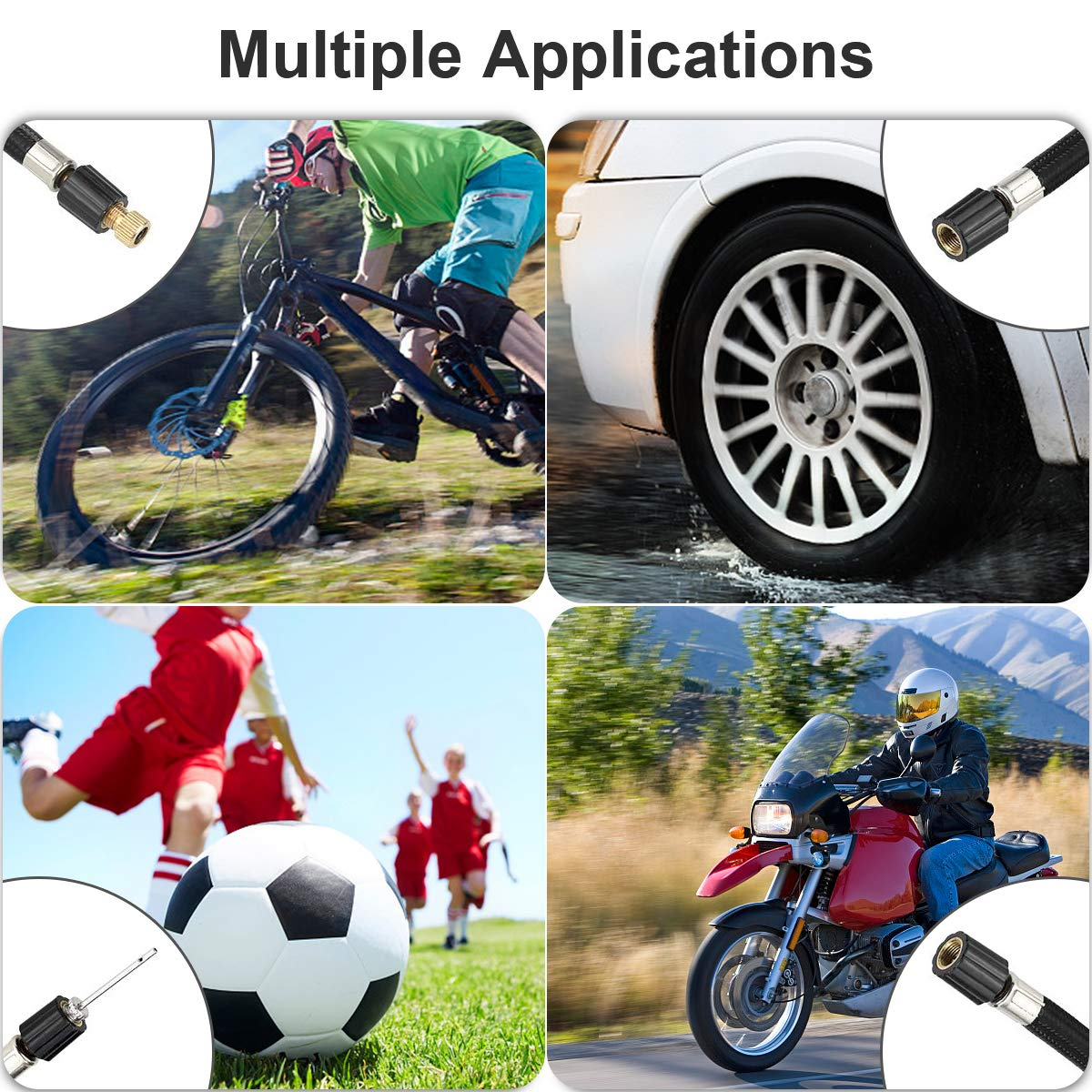 Mini Electric Bike Tyre Pump with Adapter Set morpilot Cordless Tyre Inflator Air Compressor LCD Screen 4 Preset /& 1 Custom Modes for Car LED Light 20L//M, 0-100PSI Motorcycle Football Cycle