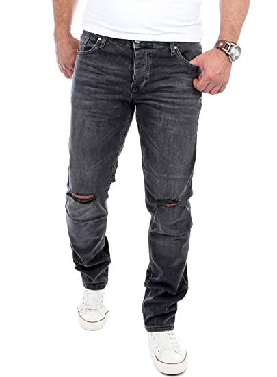 Reslad Jeans Herren Cut Off Knee Slim Fit Denim Destroyed Jeans Hose RS 2070