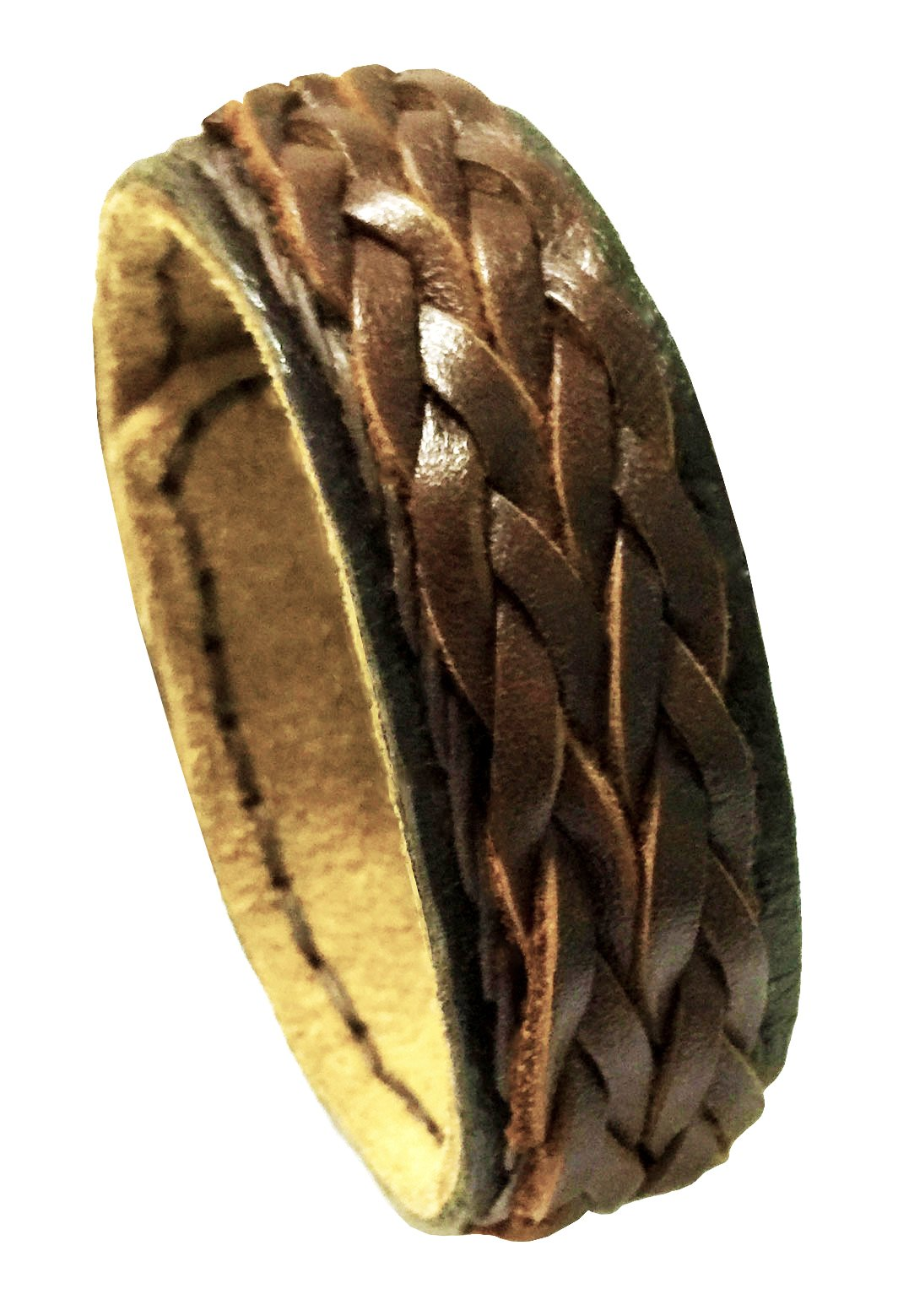 D'SHARK 1'' Wide Luxury Braided Punk Rock Biker Leather Bangle Bracelet Cuff Wristband for Unisex (Brown)