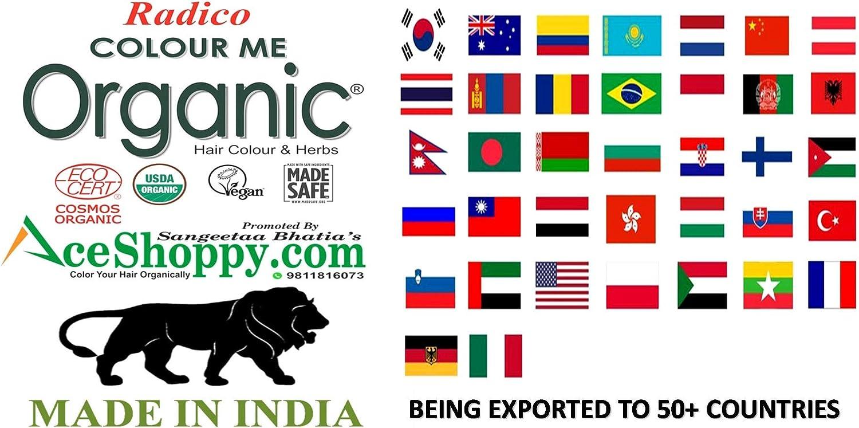 Radico Colour Me Organic - Tinte para el pelo vegetal, color marrón oscuro, 2 unidades