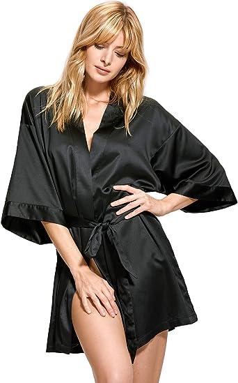 Image of DOBREVA Kimono con Escote de Seda Ropa de Dormir Albornoz Dama de Honor