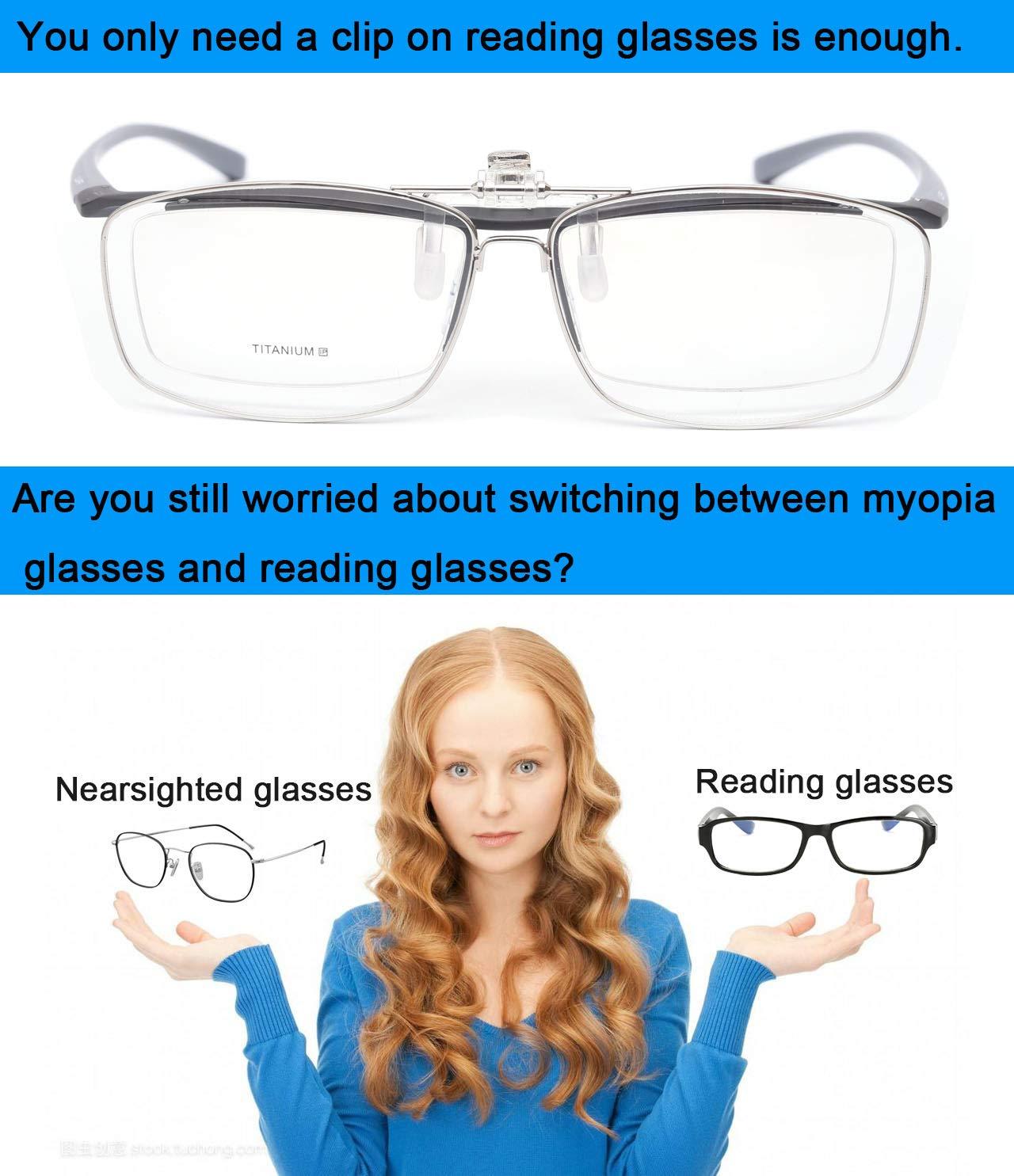 Amazon.com: JENRICH - Gafas de lectura con clip, lentes sin ...