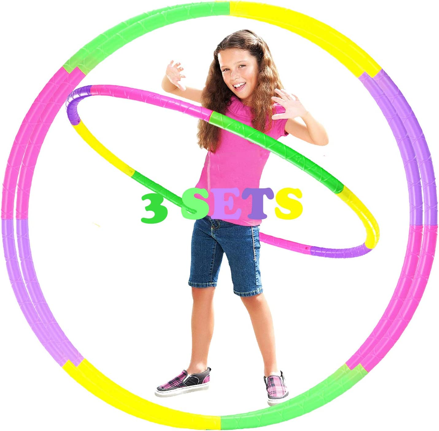 3 Set Kids Hoola Hoops, Detachable Size Adjustable Plastic Colourful Exercise Circle, Ideal Fitness Ring Toy for Playing, Party-Game, Bodybuilding, Gymnastics, Dance, Pet Training, Wreath, Girls & Boy