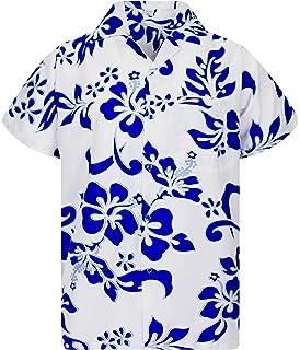 Funky Hawaiihemd Hibiscus Indigoblau auf Weiß Hawaiian Shirt Front-Tasche