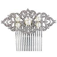 Ever Faith Silver-Tone Crystal Ivory Color Simulated Pearl Art Deco Wedding Hair Comb