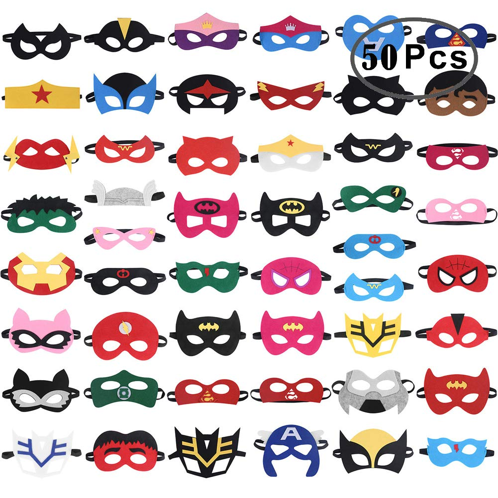 RoterSee 50Pcs Superhero Masks Party Favors for Birthday Party with 50 Different Types, Great Gift for Halloween Thanksgiving Day and Christmas by RoterSee