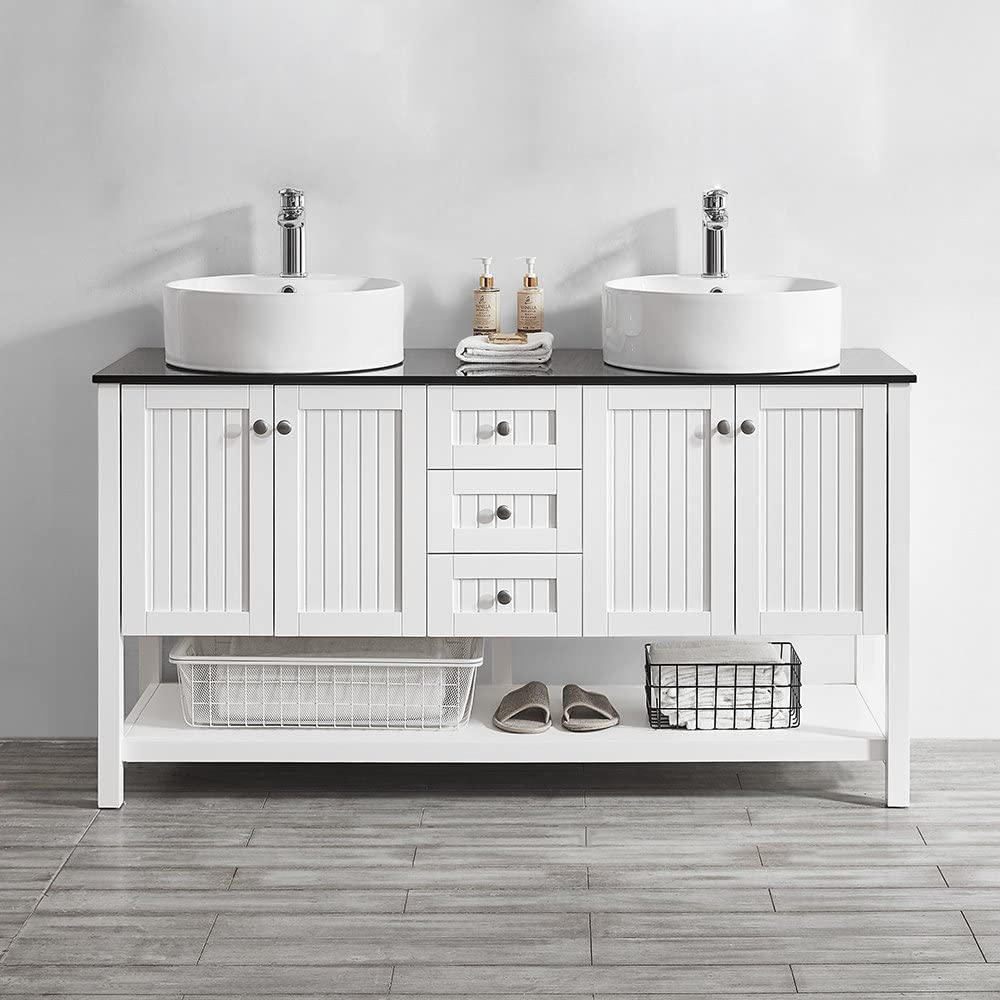3 Piece 60 Vinnova 756060-WH-BG-NM Modena Double Vanity with Glass Countertop with White Vessel Sink without Mirror