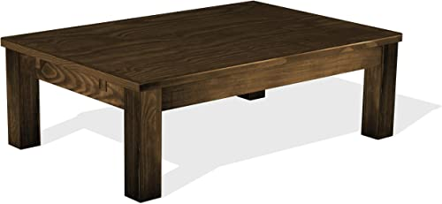 TableChamp Coffee Table Rio 47 x 30 Oak Antique Solid Wood Pine Dark Brown Oiled Extension Extendable Rectangular