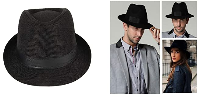 67aeaa678 Ekan Fedora Hats for Men Stylish, Classic Manhattan Fedora Hat ...