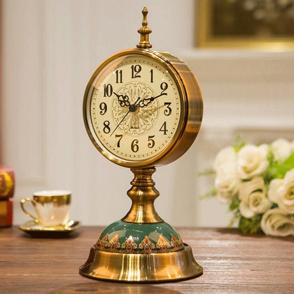 WTL 置き時計 ヨーロッパの時計レトロ時計リビングルーム大きなアメリカンデスクトップ振り子時計デスクトップクロッククリエイティブデスククロック時計装飾品 (色 : A) B07CV6LSCP A A