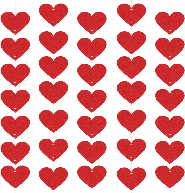 100 St/ücke mit 20 mt Band Style 1 TUPARKA F/ühlte Rotes Herz Garland Banner Valentinstag H/ängende Herzen String Garland Valentine Herz H/ängende Dekorationen