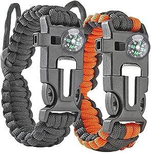 Donpow Pulsera de Supervivencia, Pulsera Equipo de Supervivencia de Supervivencia con brújula Rescue Whistle Fire Starter para Senderismo Camping y Caza 2pcs: Amazon.es: Deportes y aire libre