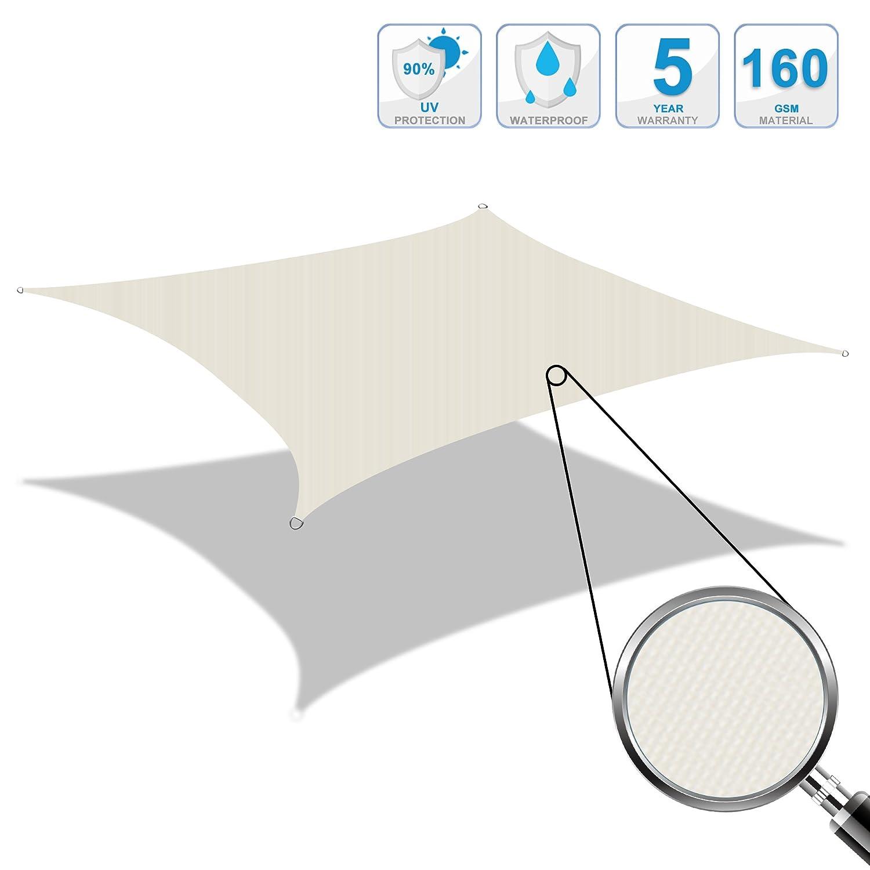 Cool Area Tenda a Vela Impermeabile Quadrato 5 x 5 Metri Protezione Raggi UV, Crema ESSWS5-CRM