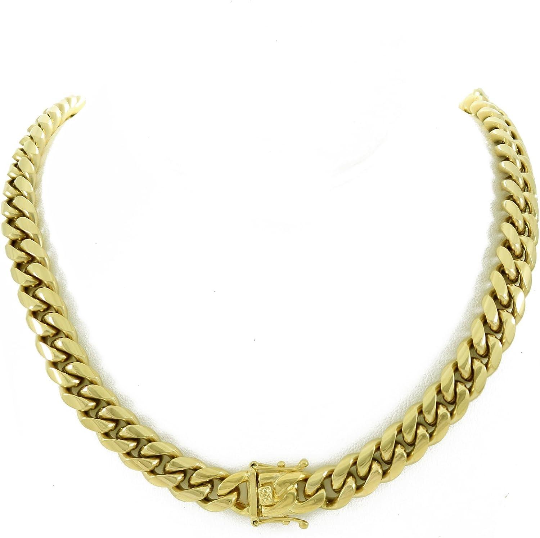 Cadena de eslabones cubanos de 12 mm, 76,2 cm, 200 gramos, acero inoxidable chapado en oro de 14 quilates – Iced Bling: Amazon.es: Joyería