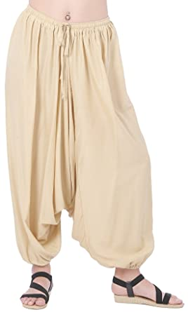 d24654e0e6 Amazon.com: CandyHusky Men Women Baggy Hippie Boho Gypsy Yoga Harem Pants  Aladdin Costumes (Beige): Clothing