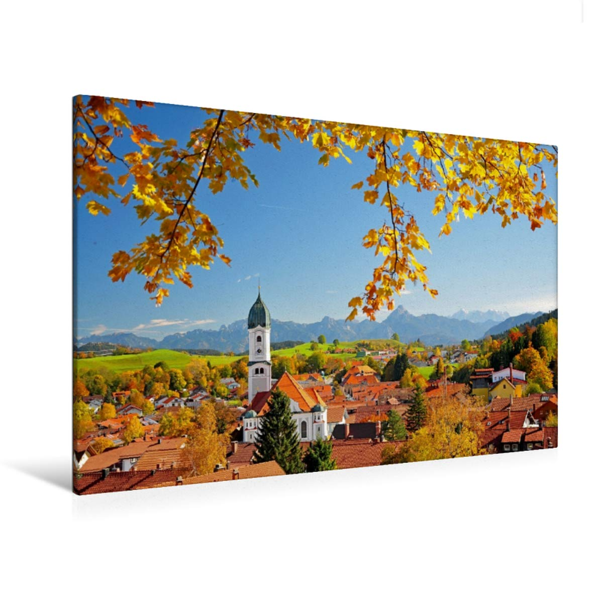 Premium Textil-Leinwand 120 cm x 80 cm quer Nesselwang