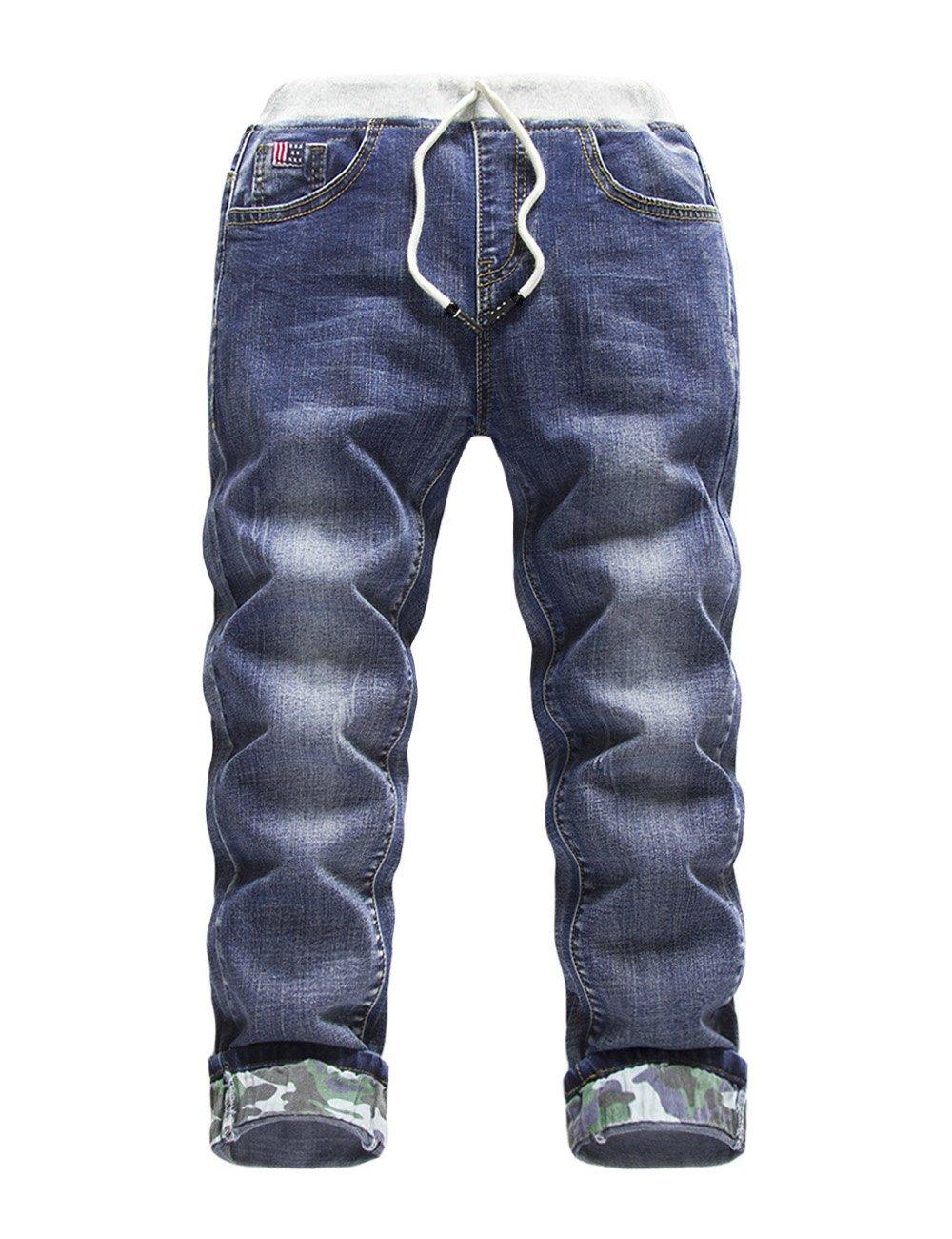 Premium Skinny Boys Jeans Slim Fit Pants Toddlers Kids Teens (6, Camouflage DK)