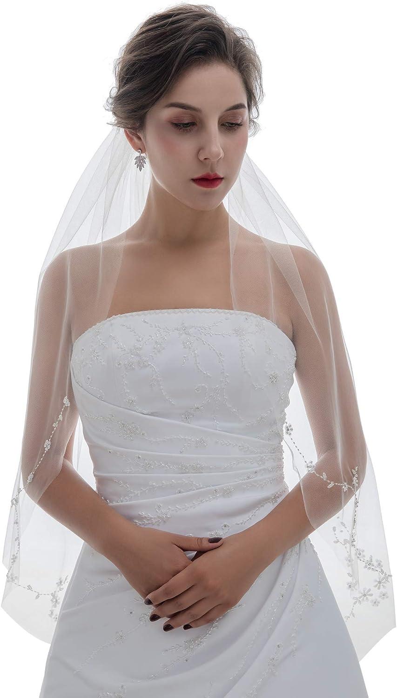 SAMKY 1T 1 Tier Offset Floral Vine Pearl Crystal Beaded Bridal Veil