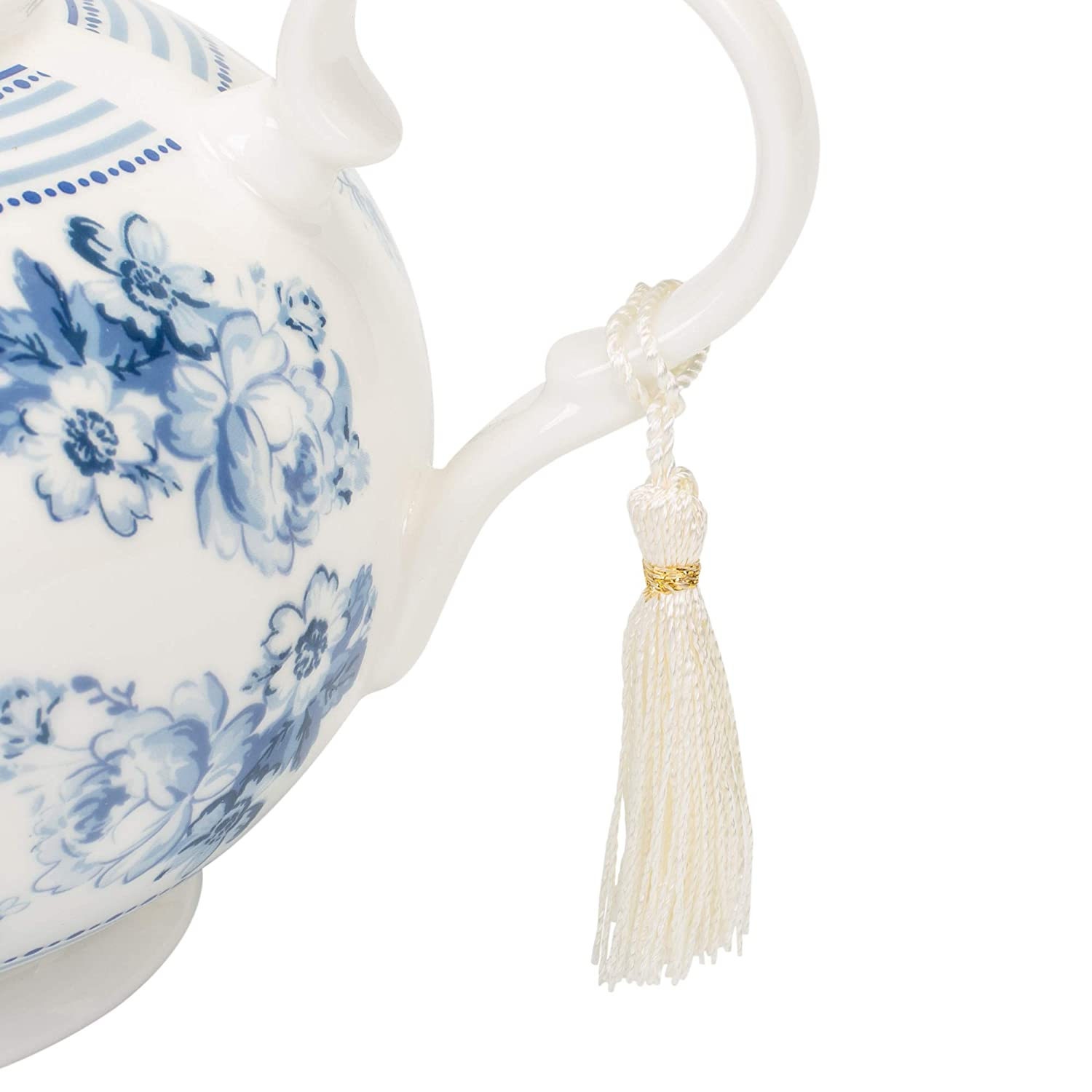 Delton Products English Blue 9.5 inches x 5.6 inches Porcelain Tea Pot in Gift Box Serveware