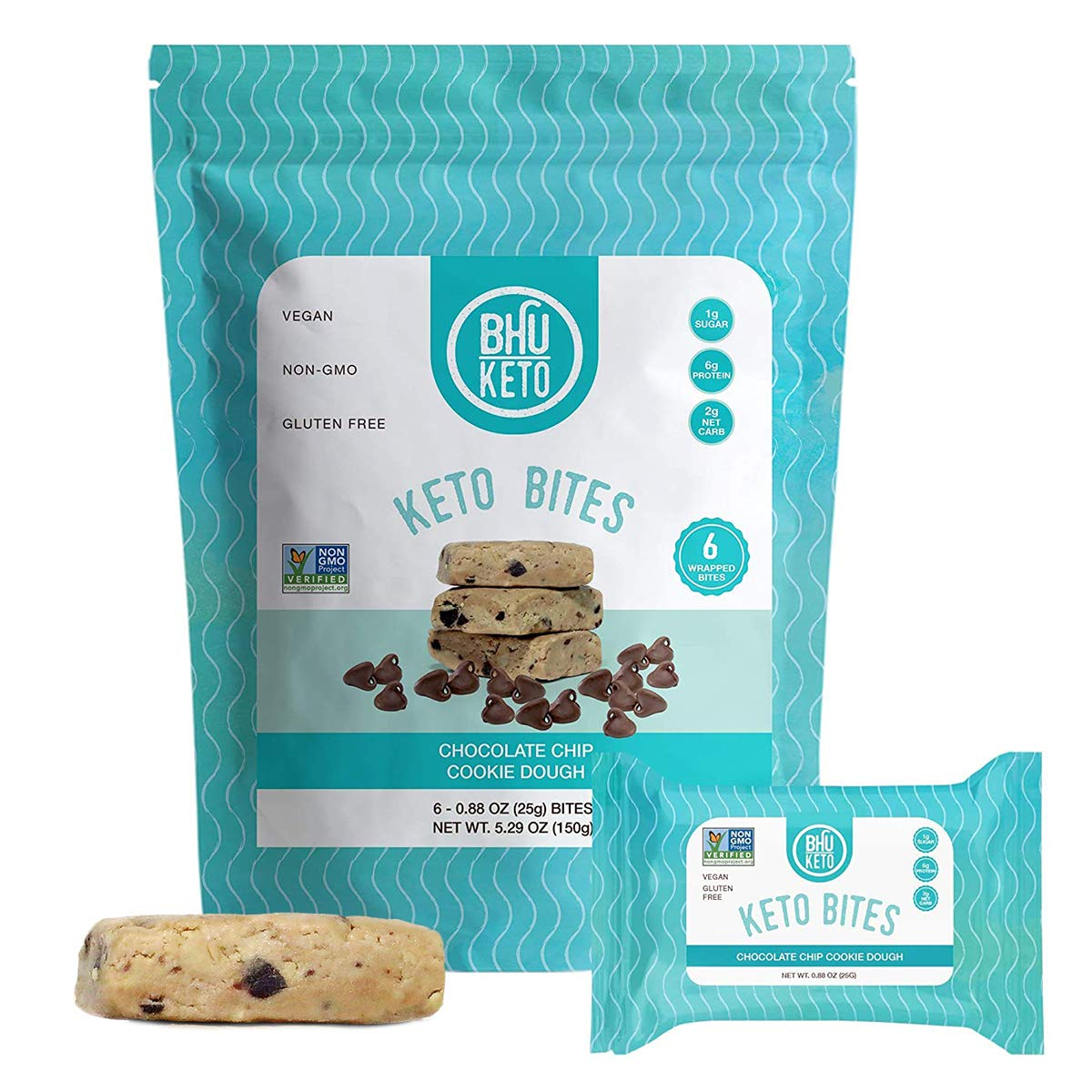 BHU Keto Bites - Chocolate Chip Cookie Dough, 6 Individually Wrapped Protein Snacks for On The Go - Made Fresh Daily, Natural & Organic Ingredients, Low Carb, Vegan, Gluten-Free & Non-GMO