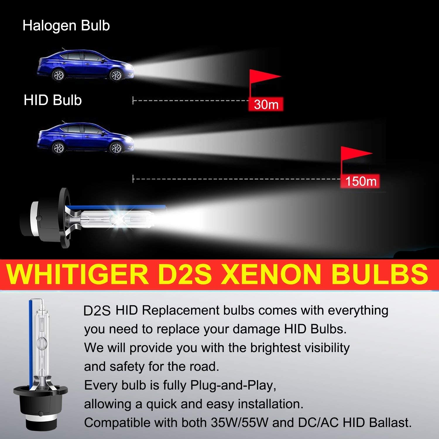 35W 4300K 12V Factory Color OEM Replace for Halogen or LED Exterior Headlamp Bulbs Pack of 2 Whitiger Car HID D2S Xenon Headlight Bulbs