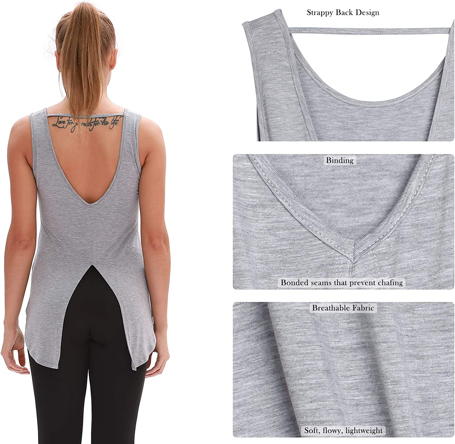 Yoga Tops 2 Pack Exercise Gym Shirts Athletic Tanks icyzone Open Back Workout Tank Tops for Women