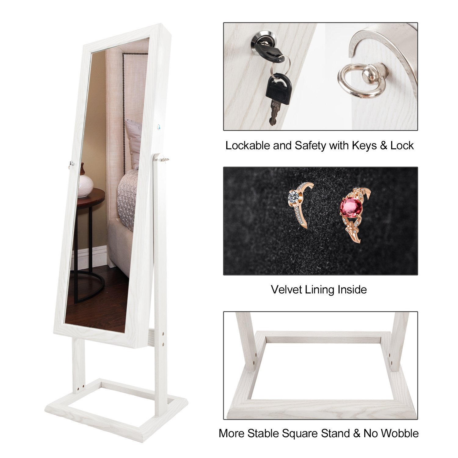 Bonnlo Jewelry Armoire Square Stand with 4 Adjustable Angle Tilting, Well Packed by styrofoam & Stiffer Covering, Lockable Heavy Duty Bedroom Make up Mirror Cabinet Organizer Closet by Bonnlo (Image #3)