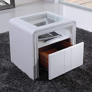Cadentro Table De Chevet Design En Simili Cuir Vi Blanc Amazon