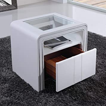 CADENTRO Table de Chevet Design en Simili Cuir/VI (Blanc): Amazon.fr ...