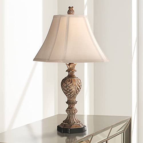 Regio Traditional Table Lamp Carved Brown Tan Fabric Square Bell Shade