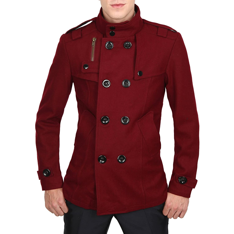Doublju Mens Casual Double PEA Wool Half Trench Coat Jacket